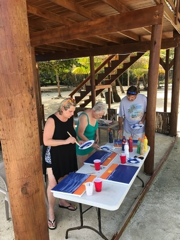 Roatan Tropical Painting and Club Natale All Inclusive Beach Break Excursion club Natalie painting experience