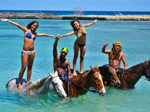 Falmouth  Jamaica horse riding through water Tour