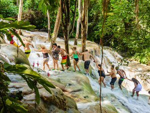 Falmouth Dunn's River Falls, White River Tubing and Shopping Excursion