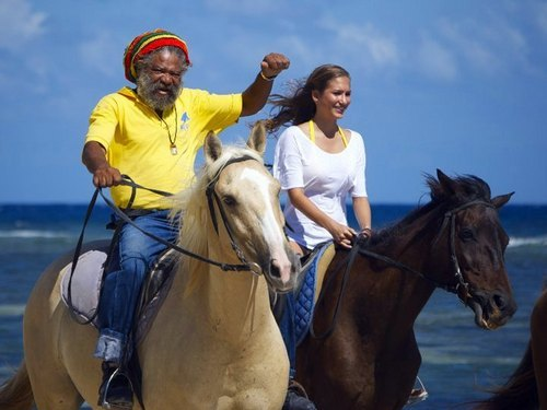 Falmouth  Jamaica horse riding through water Cruise Excursion