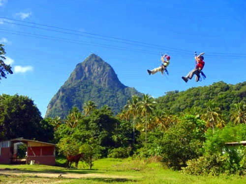 St. Lucia Catamaran Sailing and Zip Line Adventure Excursion - St. Lucia  (Castries) Excursions