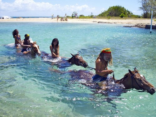 Falmouth  Jamaica horse riding through water Excursion