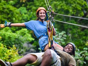 Roatan Canopy Zip Line and Beach Break Adventure Combo Excursion