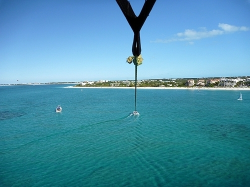Coxen Hole parasailing at West End Cruise Excursion Tickets